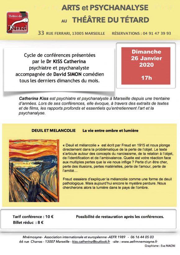 Affiche Deuil et mélancolie 26 janvier 2020